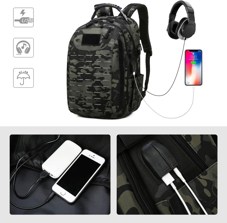 VINBAGGE 40L Sac /à Dos Randonn/ée Tactique Militaire Sac /à Dos Imperm/éable USB Multifonction pour Outdoor Voyage Trekking Camping Chasse,Camouflage