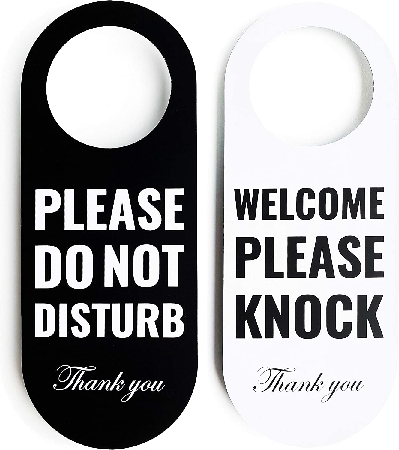 Do Not Disturb Door Hanger Sign 2 Pack (Black/White Double Sided) Please Do Not Disturb on Front and Welcome Please Knock on Back Side, for Office Home Clinic Dorm Online Class and Meeting Session