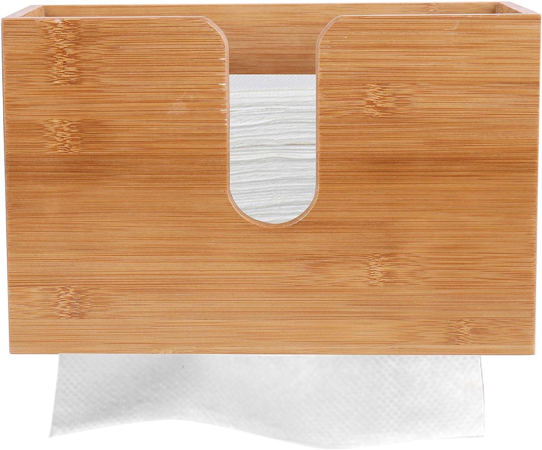 Lawei Bamboo Paper Towel Dispenser - Paper Towel Holders Wall Mount & Countertop Toilet Paper Dispenser for Kitchen Bathroom