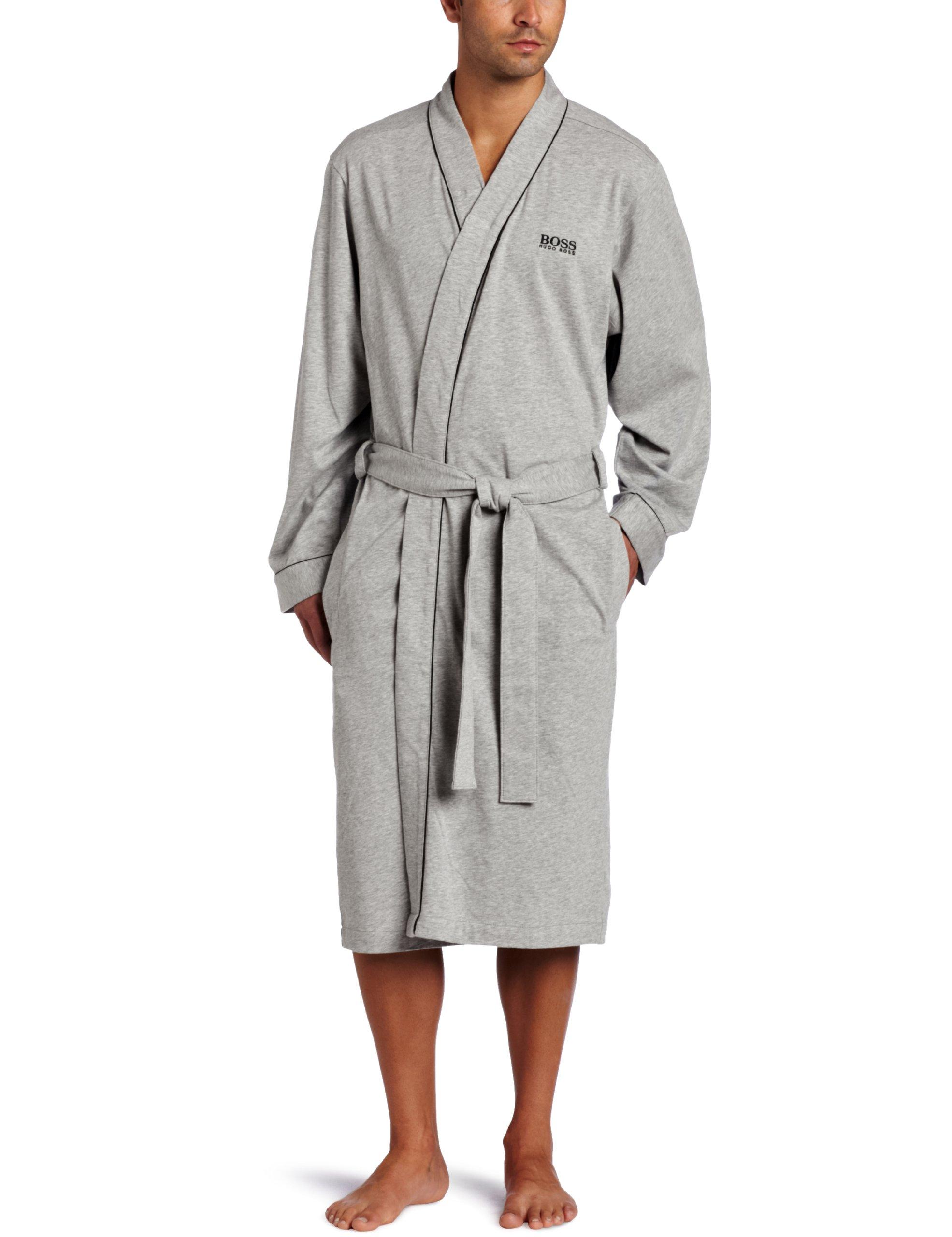 HUGO BOSS Men's Kimono Long Sleeve Robe, Grey, X-Large