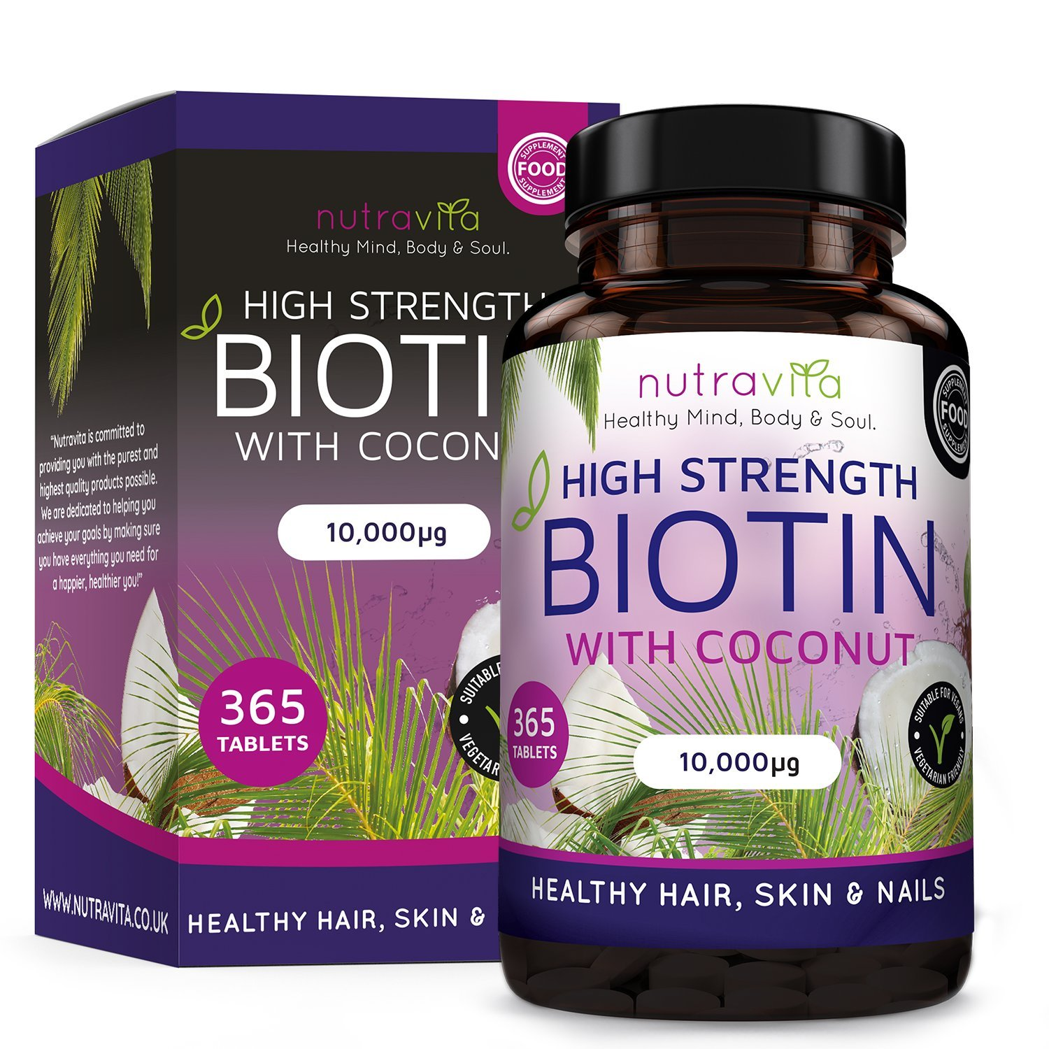 Biotin (High Potency) Hair Growth Supplement 10,000mcg 1 Year Supply; Enhanced with Coconut Oil for Better Absorption; Supports Normal Hair Growth, Maintenance of Normal Skin & Nails product image