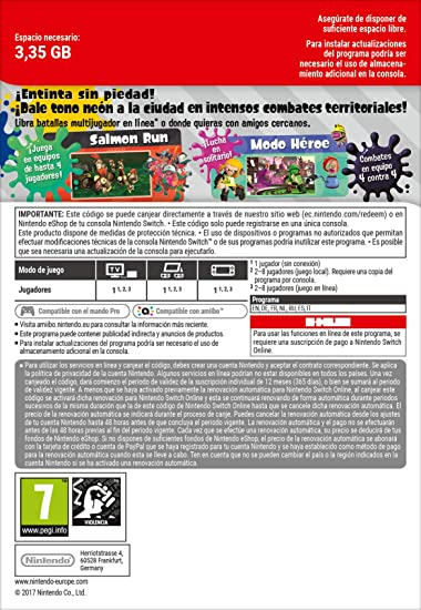 Splatoon 2 + 12 Meses Switch Online Limited Edition | Nintendo ...