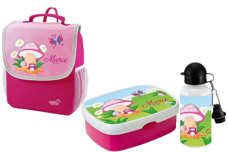 Mein Zwergenland Set 3 Kindergartenrucksack mit Brotdose und Trinkflasche Happy Knirps NEXT Mit Name Eule Pilz - 3-