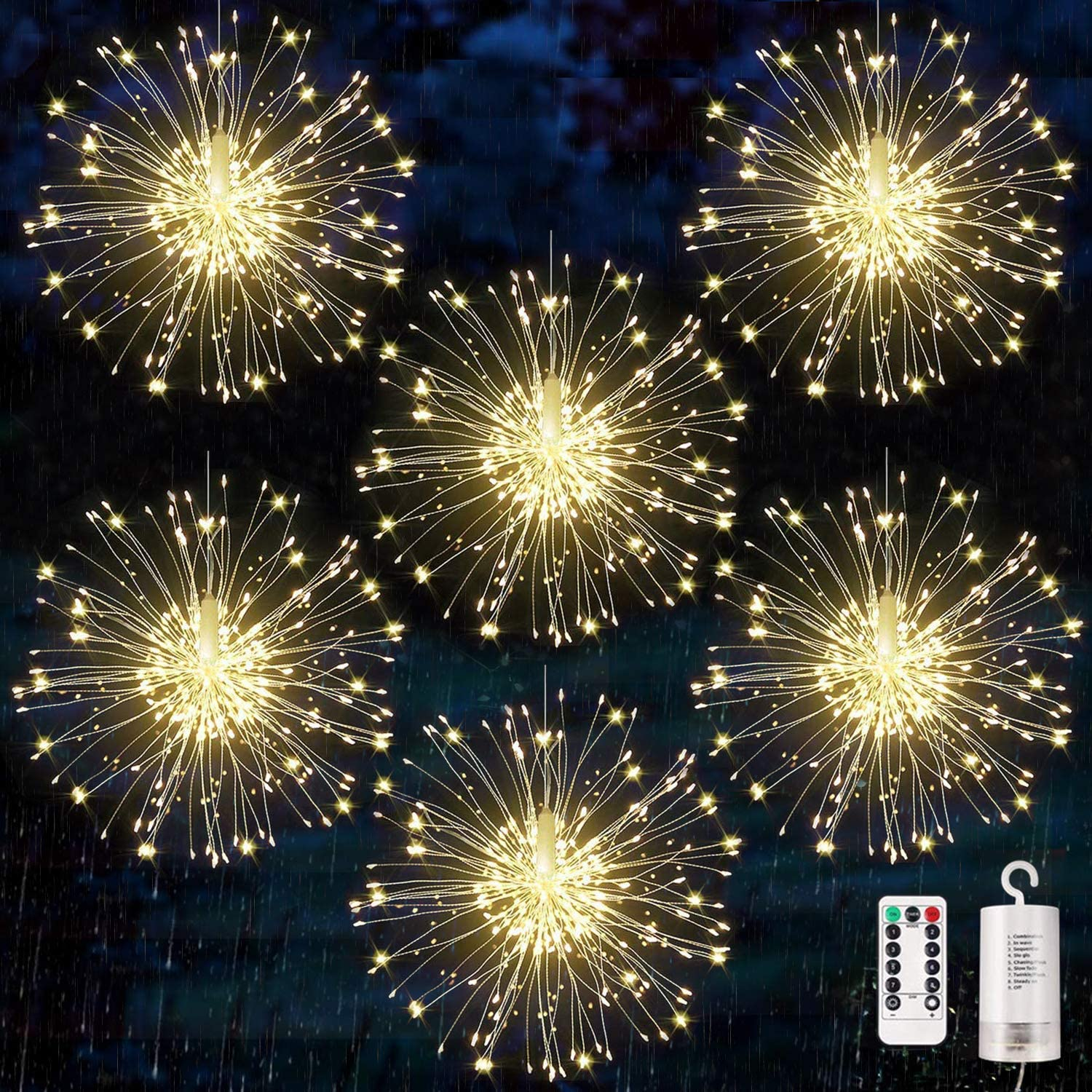 6 pack Firework Lights Copper Wire Led Starburst Lights, Dimmable Battery Operated Hanging Lights with 8 Modes, Remote Control, Waterproof Fairy String Lights for Home, Patio, Christmas Decoration