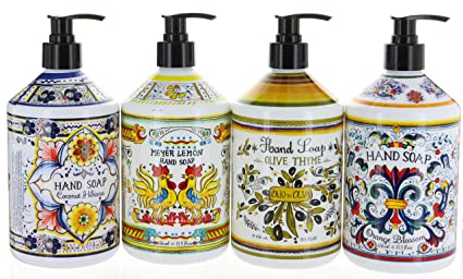 Amazon Com Combo Set 4 Italian Deruta Hand Soap Collection 21 5
