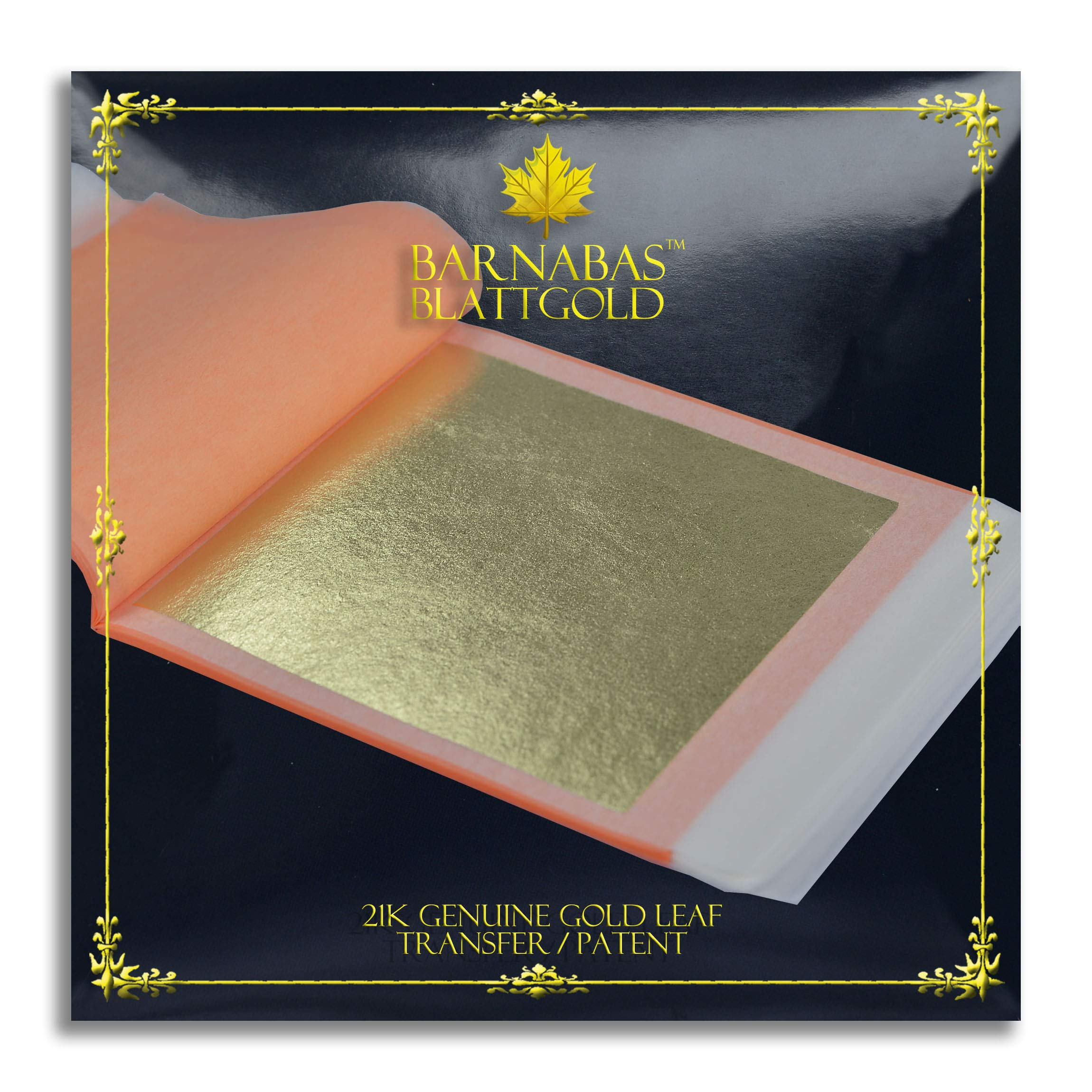 Genuine Gold Leaf Sheets 21k - by Barnabas Blattgold - 3.4 inches - 25 Sheets Booklet - Transfer Patent Leaf