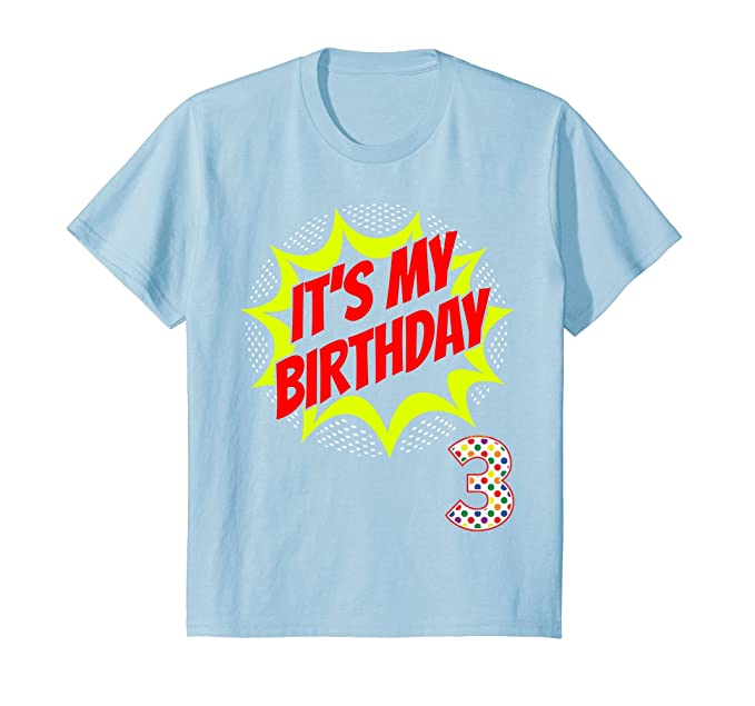 Kids Superhero Birthday Shirt 3 Year Old 3rd Party Gift Supplies 4 Baby Blue