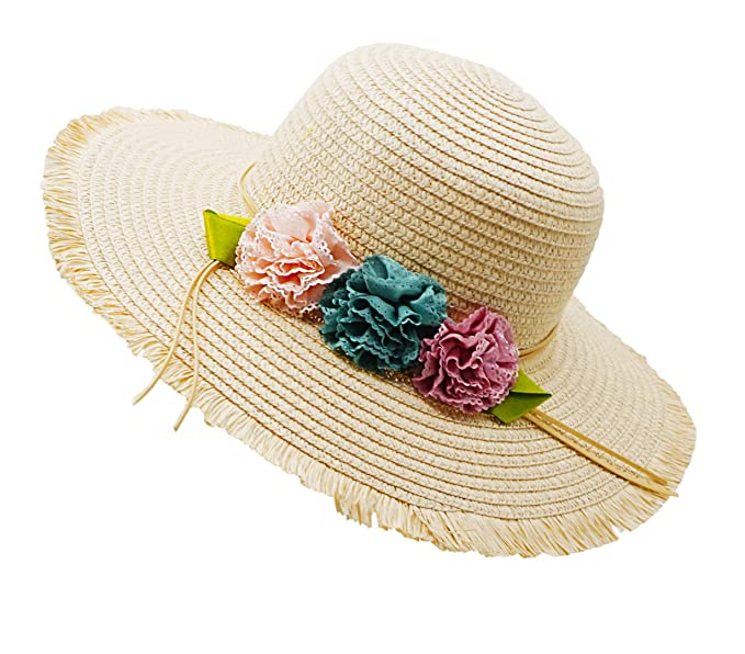 ba4dde06 Image Unavailable. Image not available for. Color: Bienvenu Girl Kids Sun  Hat Summer Wide Brim Floppy Beach Sun Visor Hat with Flowers,