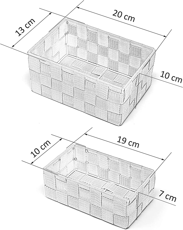 impilabili moderno Nero Set di 2 cestini da bagno Lashuma 20 x 13 x 10 cm 19 x 10 x 7 cm