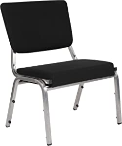 Flash Furniture HERCULES Series 1500 lb. Rated Black Antimicrobial Fabric Bariatric Medical Reception Chair with 3/4 Panel Back