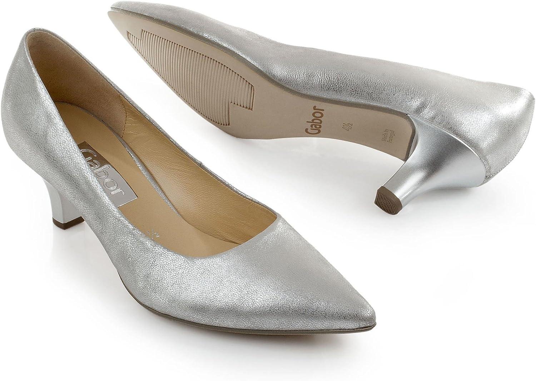Gabor Pumps Silber metallic spitz, Farbe:Silber;Größe:40
