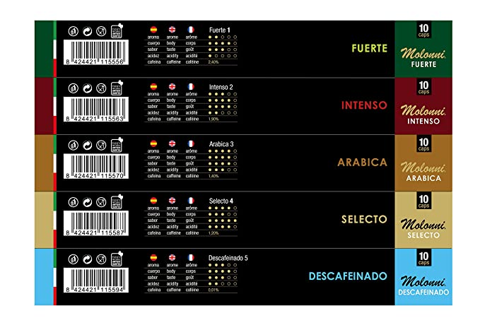 Molonni - Cápsulas de café - Surtido Clásicos - Compatible con Nespresso - 50 cápsulas: Amazon.es: Alimentación y bebidas