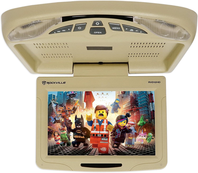 Rockville RVD12HD-BG 12 Beige Flip Down Car Monitor DVD//USB Player+Headphones