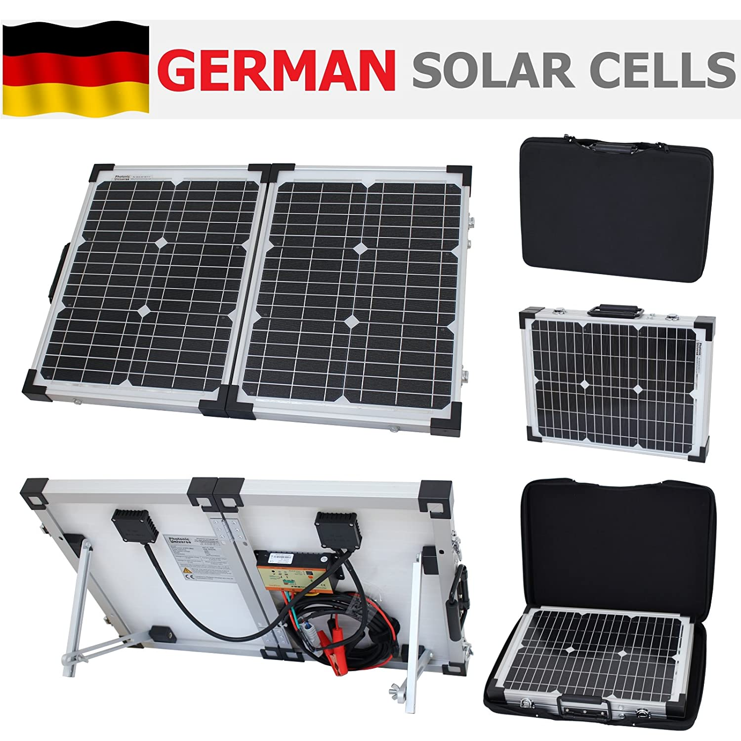 40W 12V Photonic Universe folding solar charging kit for a motorhome, caravan, campervan, car, van, boat, yacht - ideal for camping, caravanning, motorhome rallies, trade shows, mobile offices or any other off-grid 12V system (40 watt 12 volt) SWD-FWP-40M