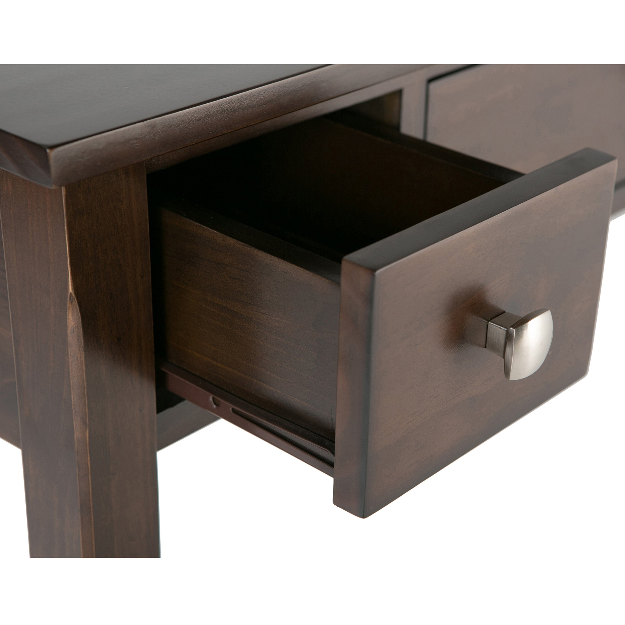 Simpli home avalon solid wood office desk rich tobacco brown