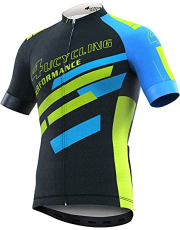 20a81c6d207 Men s Short Sleeve Cycling Jersey Full Zip Moisture Wicking