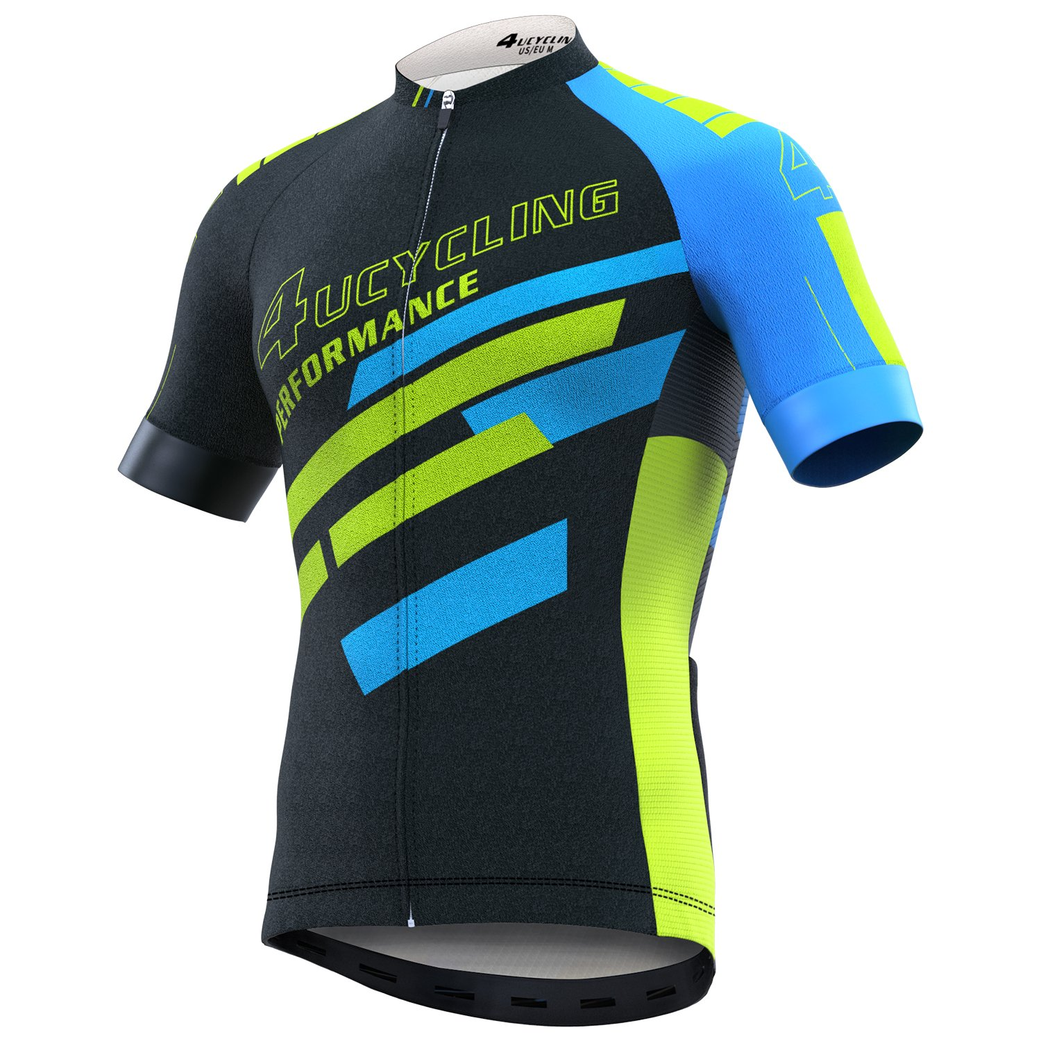 4Ucycling Herren Bike Short Sleeve Jersey Full Zip Feuchtigkeitstransport, Atmungsaktiv Running Top – Shirt