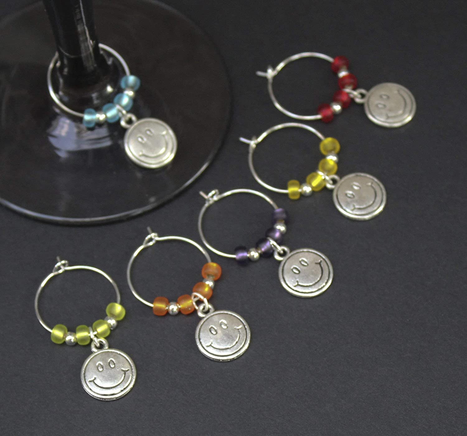 Smiley Face-70S-Baby Boomer-Hippie Wine Glass Charms-Set of 6-SMILEY001-6