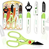 Knife Peeler Bottle Opener Scissors Set - Unique 4 Piece Kitchen Gadgets Knife Set by Amazipro8, The Best Multipurpose Kitchen Mate kitchen scissors For Fruits and Veggies, Cutting and Peeling Knives