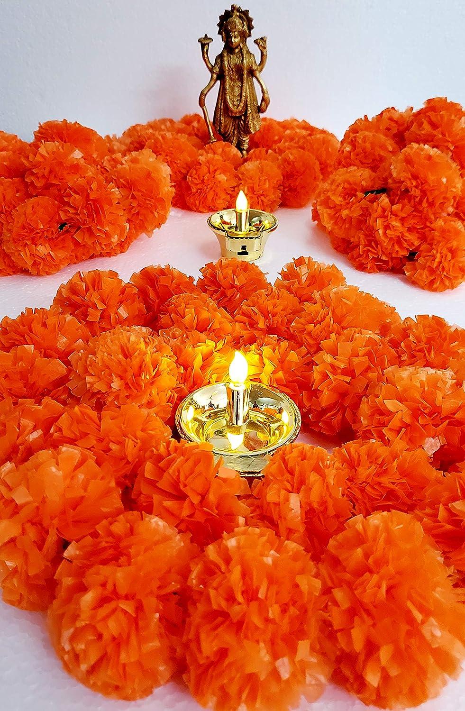 Artificial Marigold Flower Garlands 5 Feet Long for Parties Indian Weddings Indian Theme Decorations Home Decoration Photo Prop Diwali Indian Festival (Dark Orange)