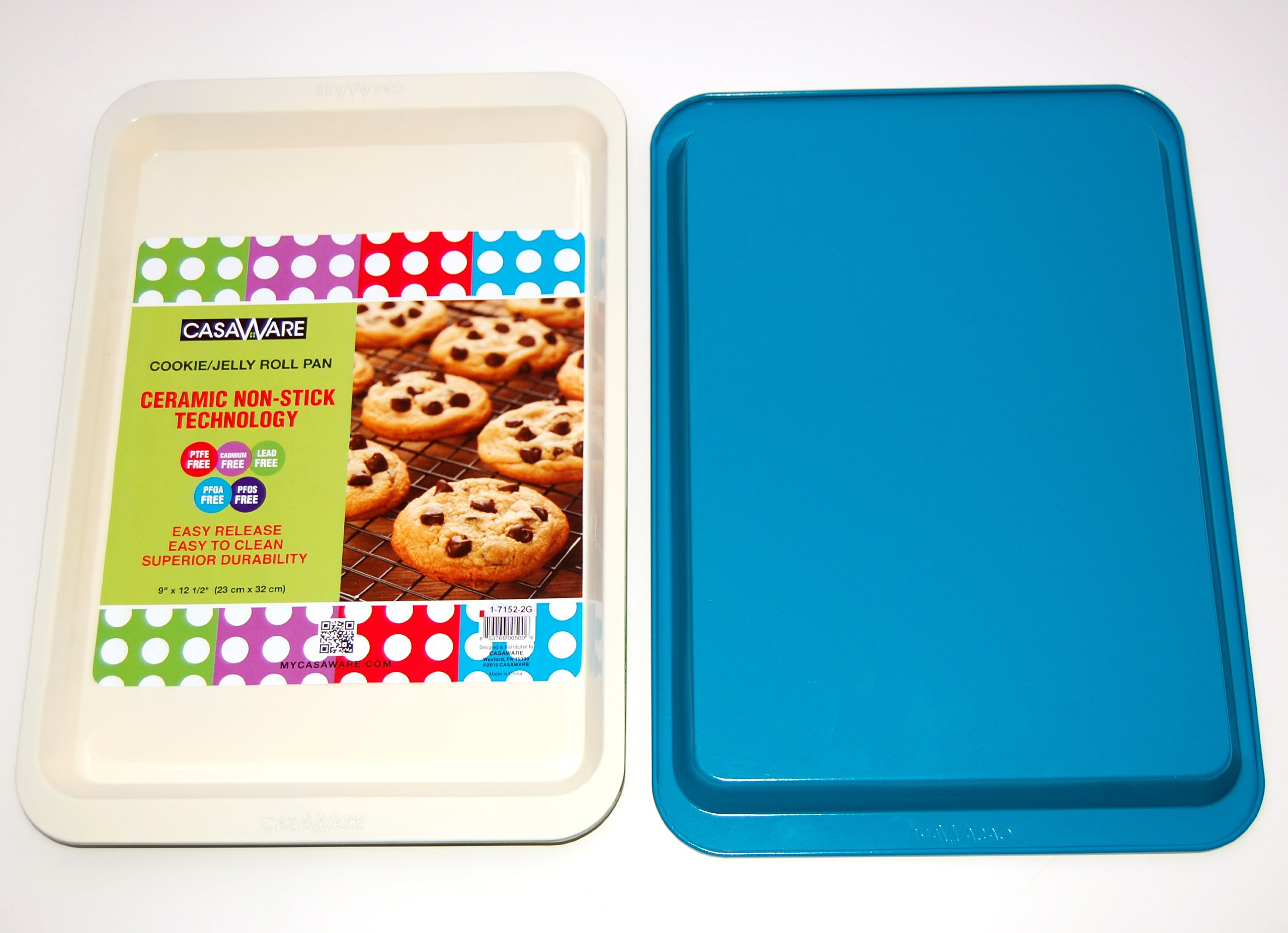 casaWare Ceramic Coated NonStick Cookie/Jelly Roll Pan (9 X 12.5-Inch, Cream/Blue)