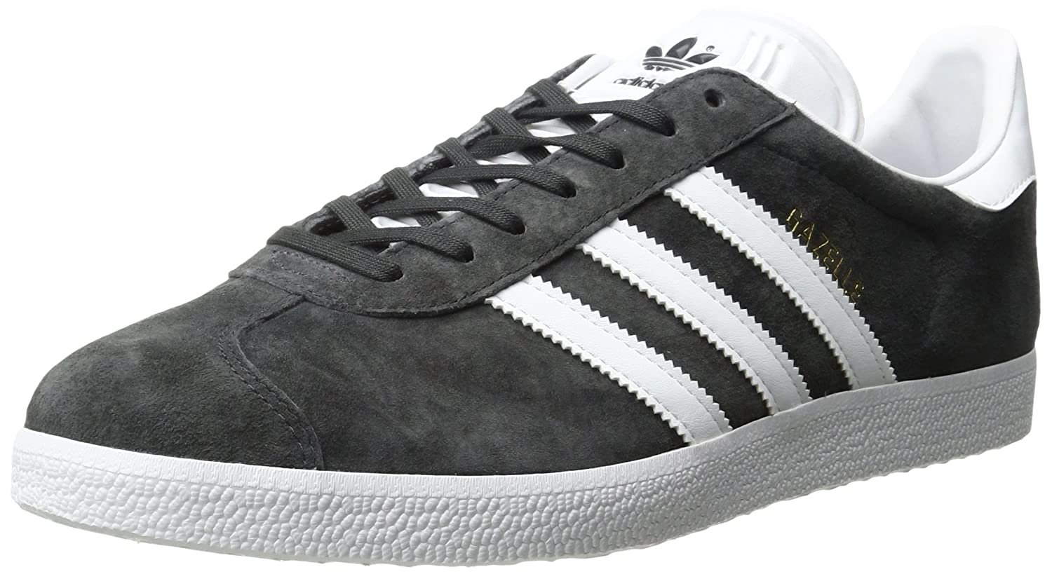 adidas Men's Gazelle Casual Sneakers B01HLJGT02 12 M US|Dark Grey Heather/White/Metallic/Gold