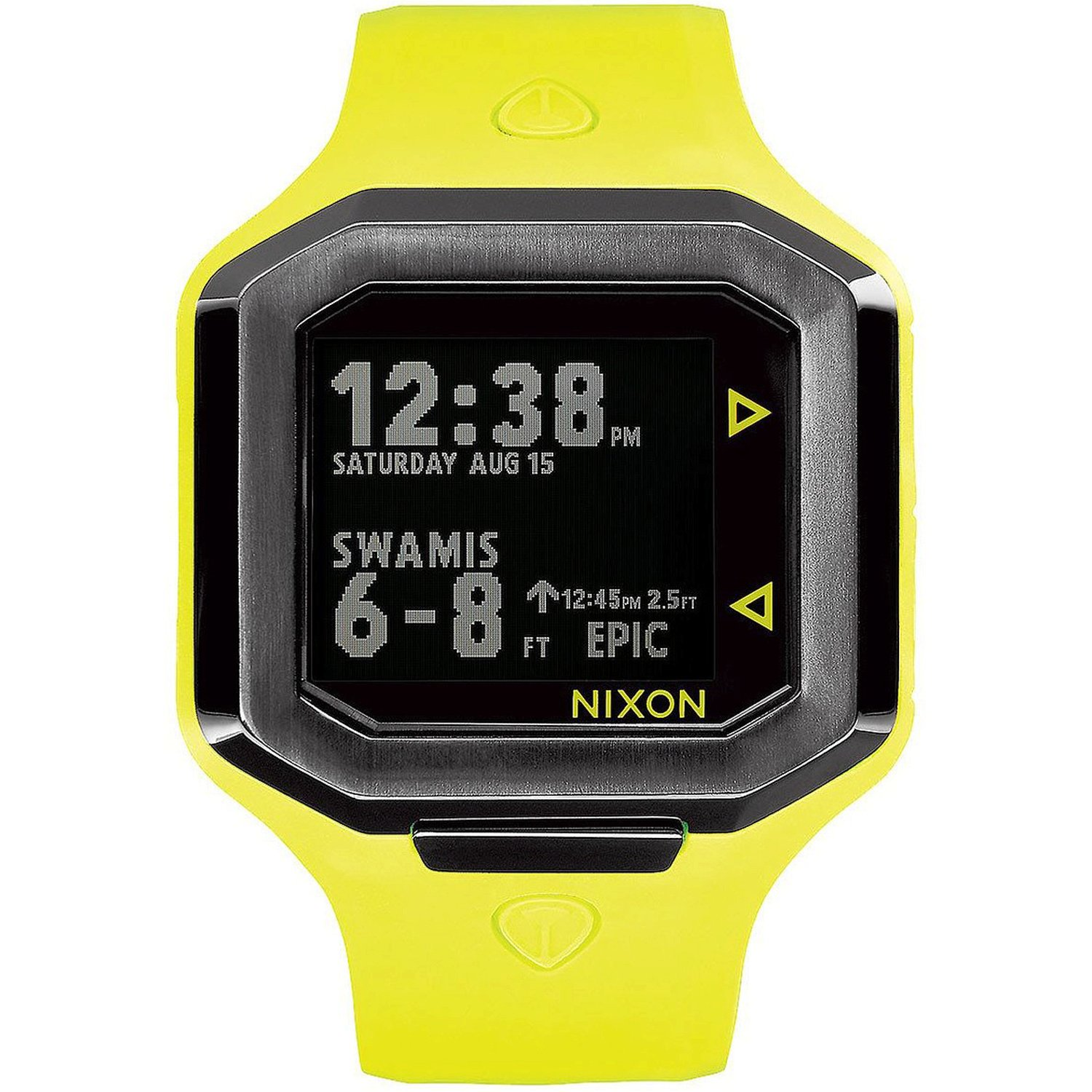 Nixon Ultratide Neon Yellow/Gunmetal Surfline Rating, Wave Heigh, Swell Height, Real Time Tide Digital Men's Watch A476-2111
