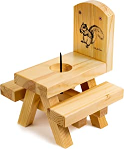 BEUTIKK Squirrel Feeder - Squirrel Feeders for Outside - Large Quality Squirrel Picnic Table with Corn on The Cob Holder - Squirrel Gifts for Squirrel Lovers - Built Strong from Pine Wood.
