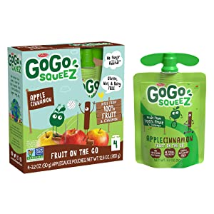 GoGo squeeZ Applesauce, Apple Cinnamon, 3.2 Ounce (4 Pouches), Gluten Free, Vegan Friendly, Unsweetened Applesauce, Recloseable, BPA Free Pouches