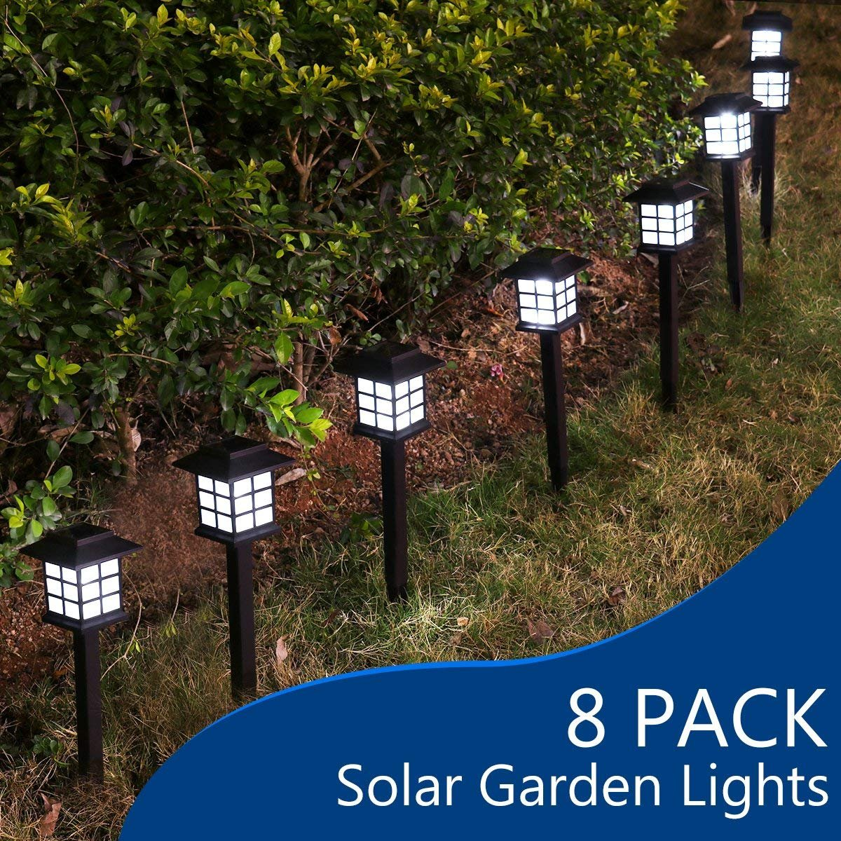 YUNLIGHTS 8pcs Garden Solar Stake Lights Outdoor Solar Pathway Lights Waterproof Solar Landscape Lights for Garden, Path, Yard, Patio, Driveway, Walkway, Lawn - White