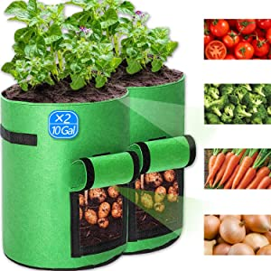 2 Pcs 10 Gallon Potato Grow Bags, Planting Bags - Premium Breathable Nonwoven Cloth Vegetable Grow Bags with Handles & Access Flap for Potato/Plant Container/Aeration Fabric Pots