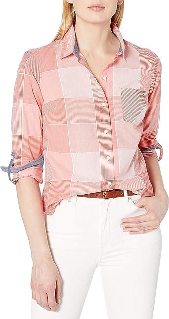Tommy Hilfiger - Camisa de mujer con botones (tallas estándar y grandes) - Multi - X-Large: Amazon.es: Ropa y accesorios