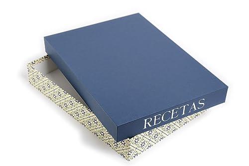 Caja Recetas tamaño DIN-A4. Tapa color azul marino, base estampada ...