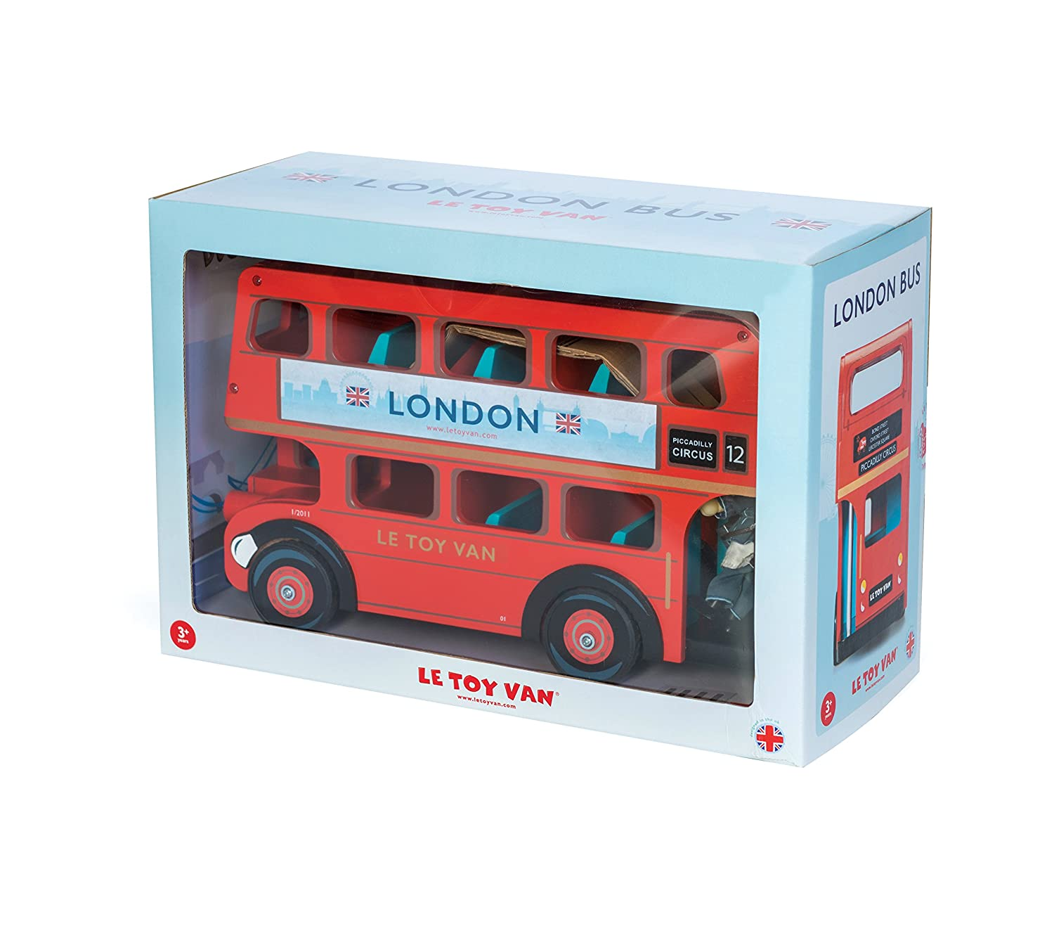 Le Toy Van Wooden London Bus Vehicle Toy With Budkin Bus Driver Figure