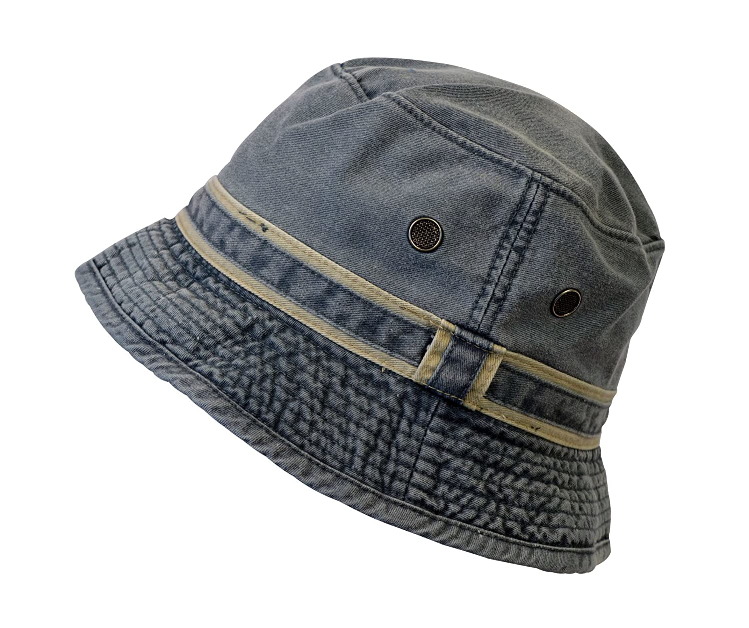 Amazon.com   Washed Cotton Denim Bucket Hat for Fishing Boating Gardening  Beach Cap   Sports   Outdoors 21e58c95a2e