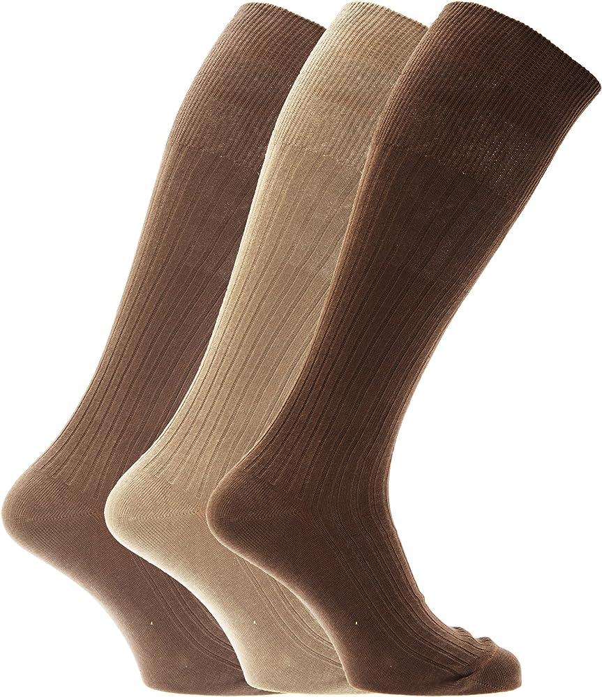 Severyn Calcetines acanalados hasta la rodilla para caballero/hombre - 100% algodón (Paquete de 3 pares de calcetines) (39-45 EUR) (Diseño 3): Amazon.es: Ropa y accesorios