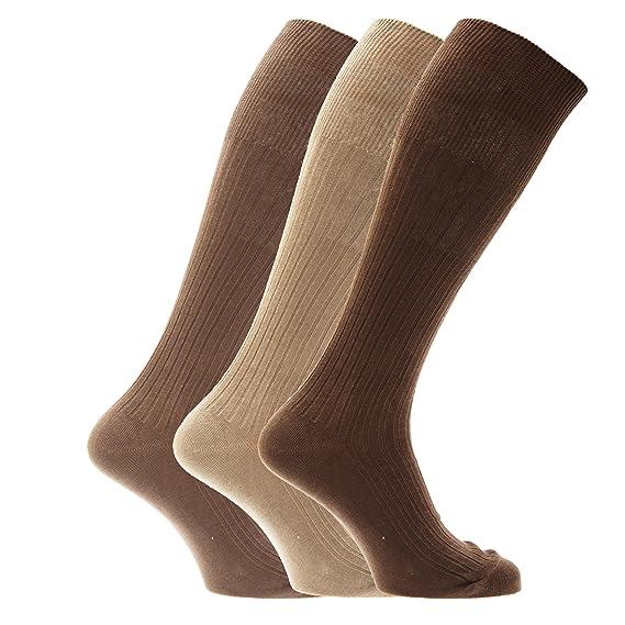 Calcetines acanalados hasta la rodilla para caballero/hombre - 100% algodón (Paquete de