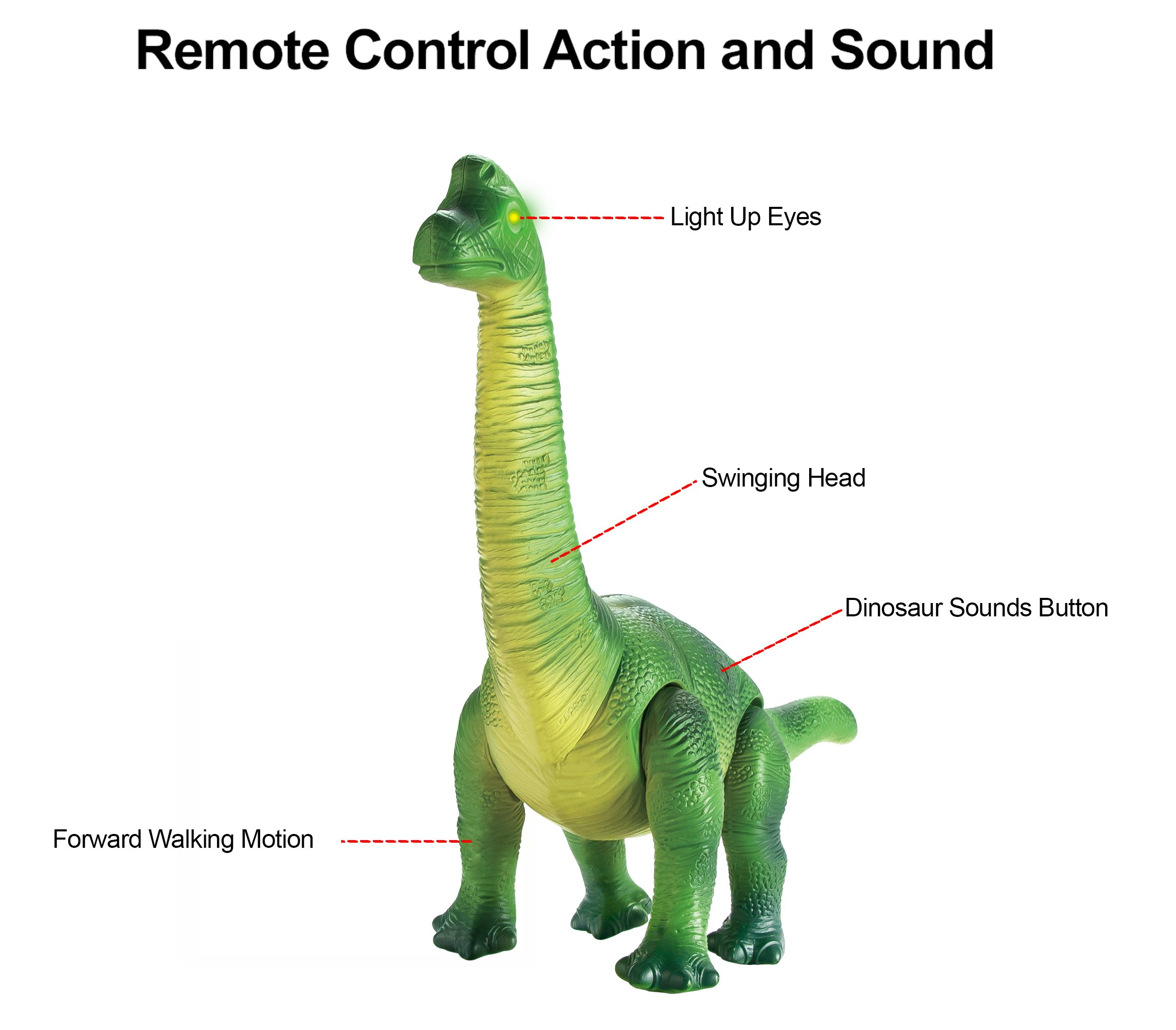 Liberty Imports Dino Planet Remote Control RC Walking Dinosaur Toy with Shaking Head, Light Up Eyes and Sounds (Brachiosaurus) by Liberty Imports (Image #2)