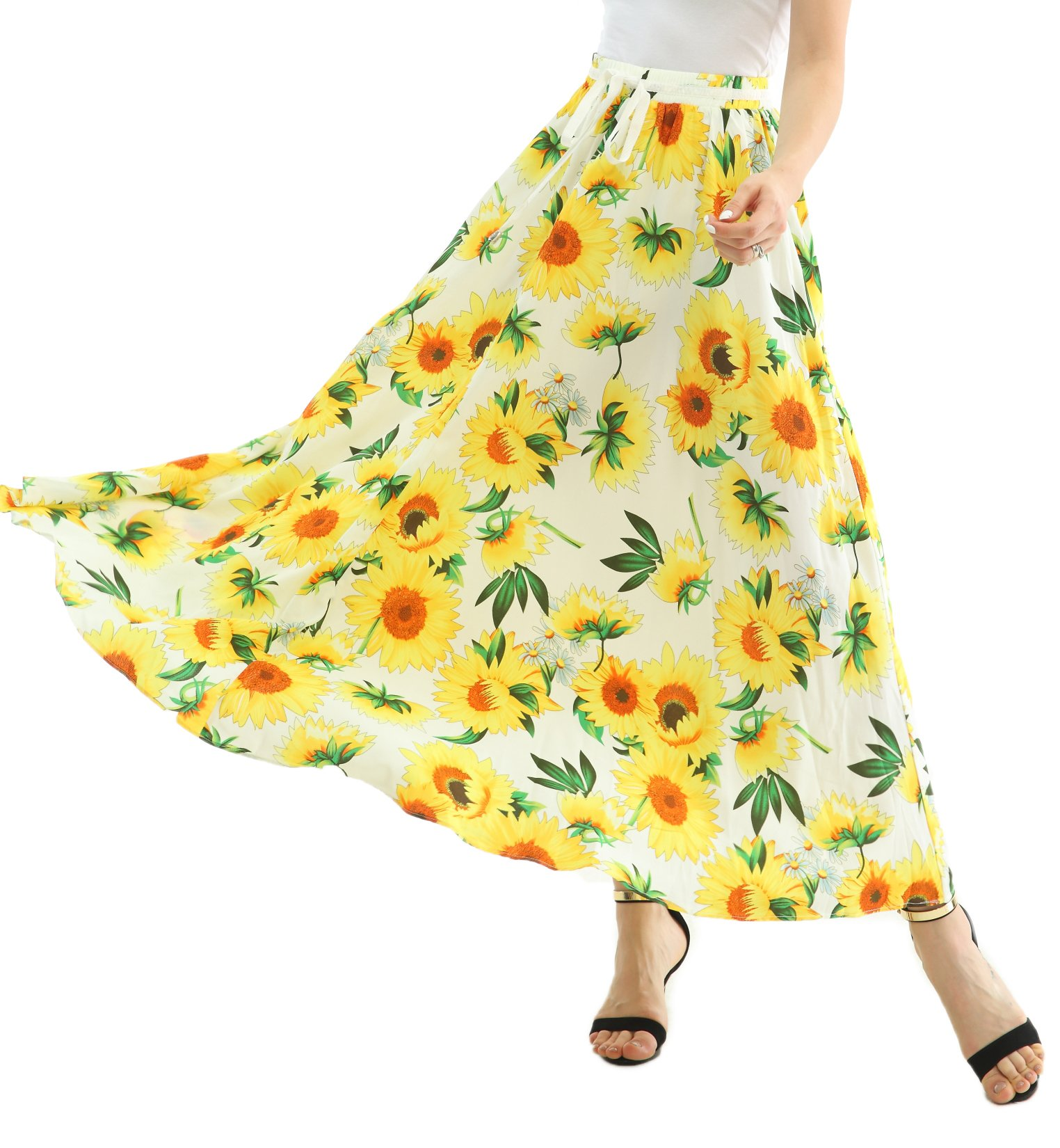 JOAUR Women Full/Ankle Length Floral Print Maxi Chiffon Long Skirt Beach Skirt, Small, White