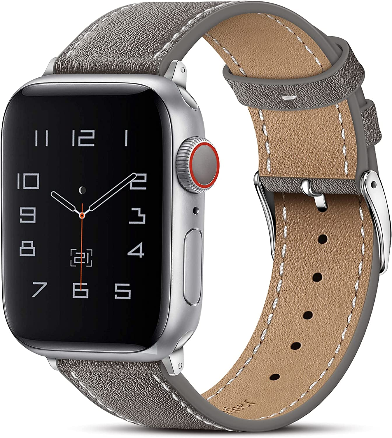 Marge Plus Compatible with Apple Watch Band 44mm 42mm 40mm 38mm, Genuine Leather Replacement Band for iWatch Series 6 5 4 3 2 1, SE (Dark Gray/Silver, 44mm/42mm)