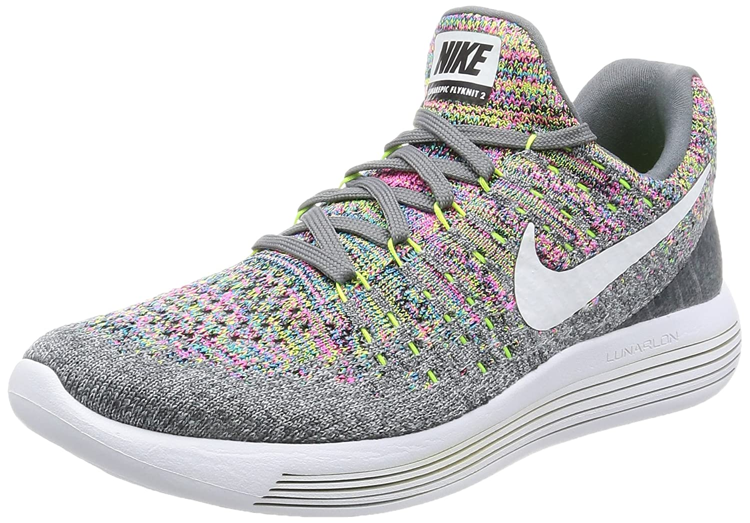 Nike Womens Lunarepic Low Flyknit 2 Fabric Low Top Lace Up, Grey, Size 6.0
