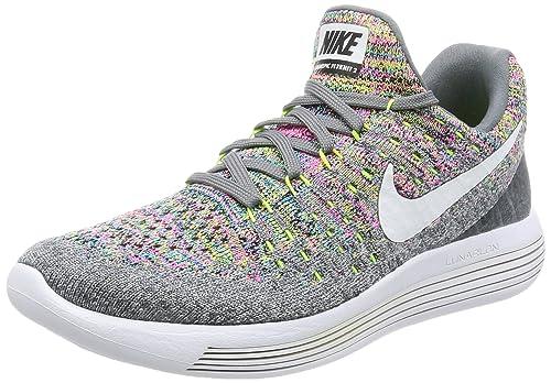 NIKE Women's Lunarepic Low Flyknit 2 Running Shoe Cool GreyWhiteVoltBlue Glow 7.5