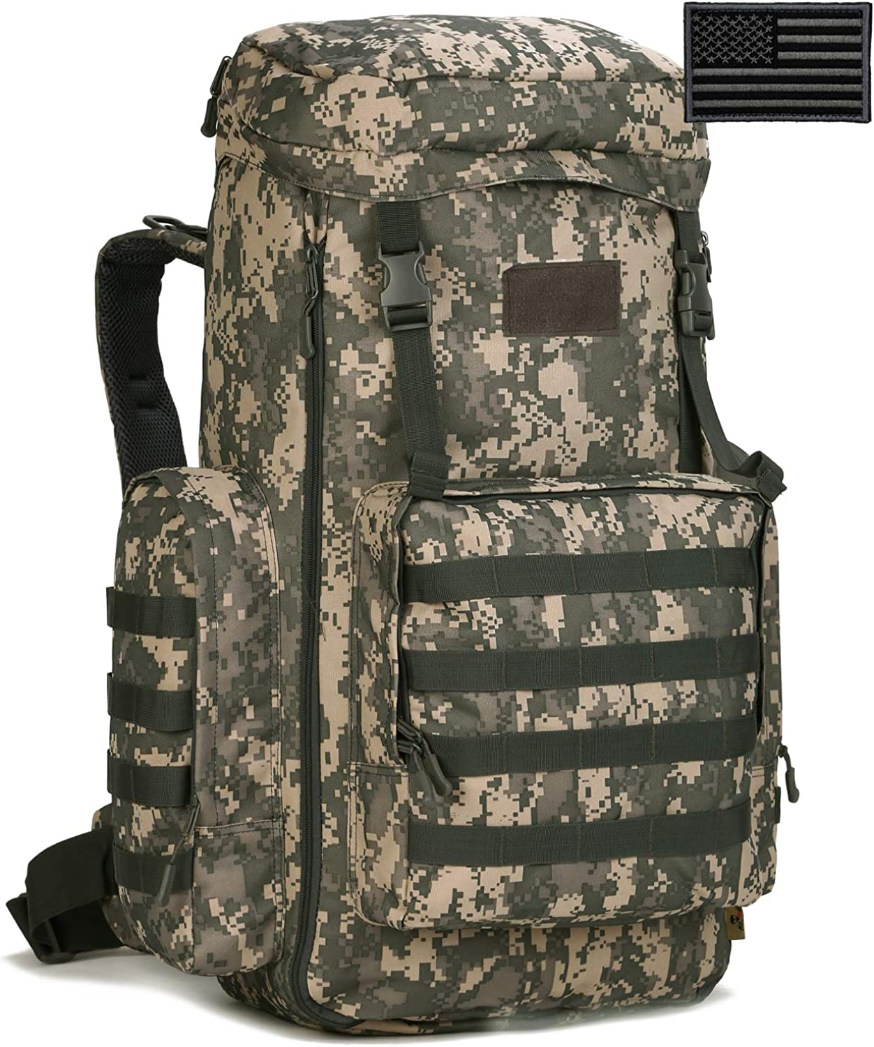 Protector Plus Tactical Hiking Daypack 70-85L Military MOLLE Outdoor Rucksack (Rain Cover & Patch Included)