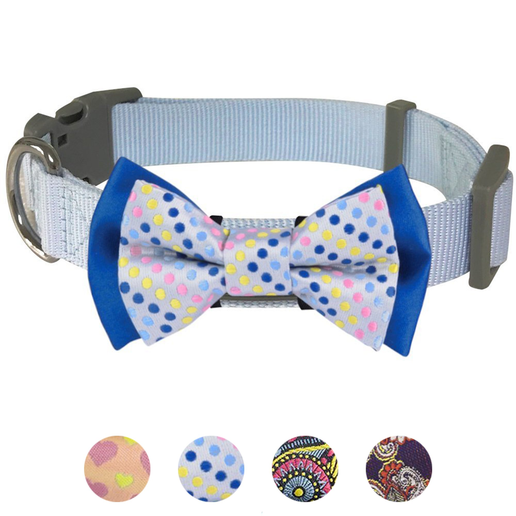 Blueberry Pet 4 Patterns Polka Dots Handmade Detachable Bow Tie Dog Collar in Neat Pastel Blue, Small, Neck 12''-16'', Adjustable Collars for Puppies & Small Dogs