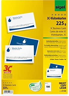 Sigel 250g 85 x 55mm a4 3c business cards for double sided printouts sigel lp850 business cards 3c bright white 225 gsm100 pieces reheart Images