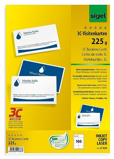 Sigel Lp850 Visitenkarten 3c 100 Stück 10 Blatt Beidseitig Bedruckbar Hochweiß Glatter Schnitt Rundum 225 G 85x55 Mm