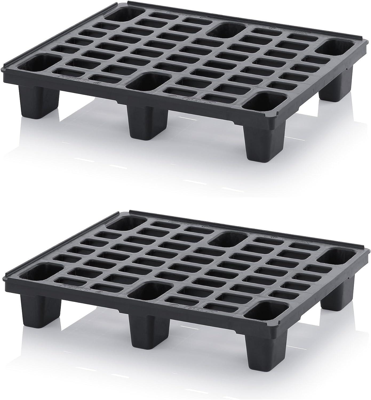 2x Leichtpalette 80x60 Kunststoffpalette im 1/2-Europaletten Maß inkl. gratis Zollstock * Halbe Palette, 2er Set