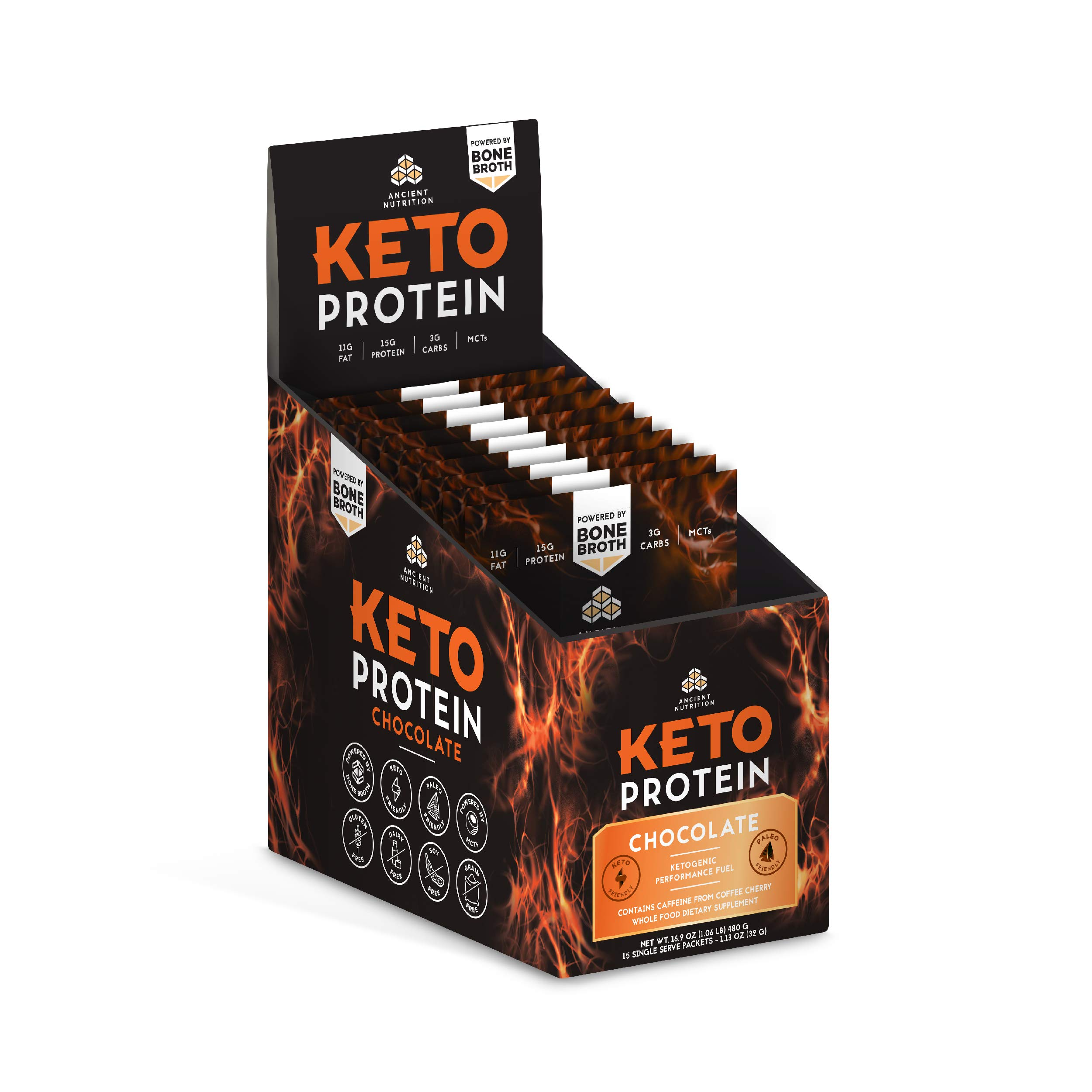 Ancient Nutrition KetoPROTEIN Powder Chocolate, 15 Servings - Keto Diet Supplement, High Quality Low Carb Proteins and Fats from Bone Broth and MCT Oil by Ancient Nutrition