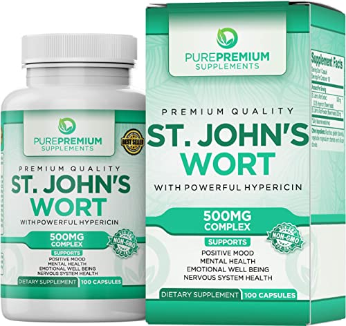 Premium St. John s Wort Supplement by PurePremium Non-GMO Gluten-Free Supports Nervous System and Mental Health. St Johns Wort with Powerful Hypericin.