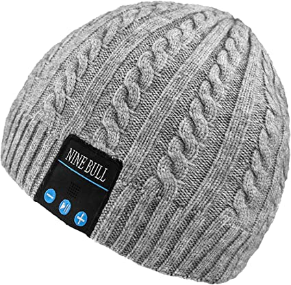 Knitted Black Grey Music Beanie Hat with Built in Audio Bluetooth Headphones